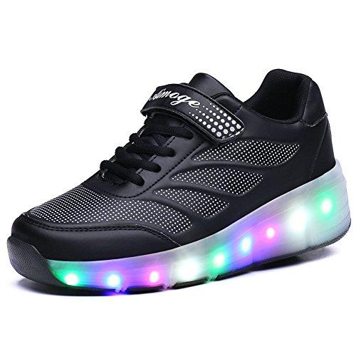 Preisvergleich Produktbild Unisex Adults Kids Girls Boys LED Light Shoes With Wheels Roller Skate Sneakers