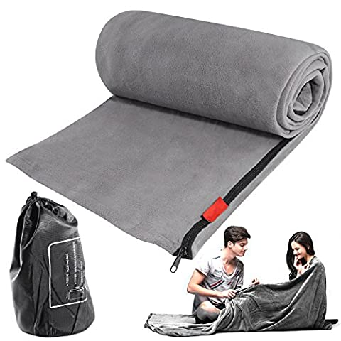 Sleeping Bag Liner Blanket Microfiber Fleece Travel Camping Sheet Sleep Sack Zippered Ultralight Warm Roomy Cozy for Home Travel Hotel Airplane with Carry Storage Bag