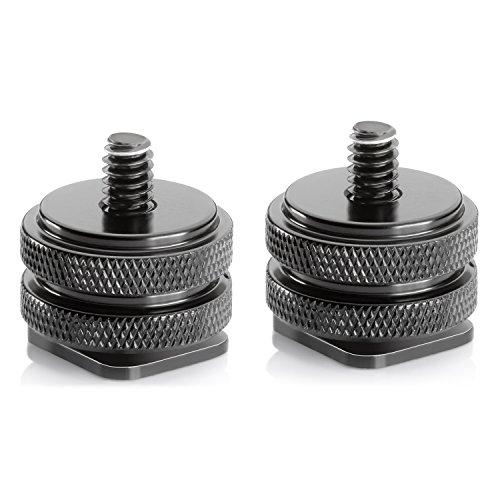 Neewer 1/4-Zoll 20 Stativgewinde Schrauben auf Hot-Shoe-Metall-Adapter, Schwarz, 2 Stück