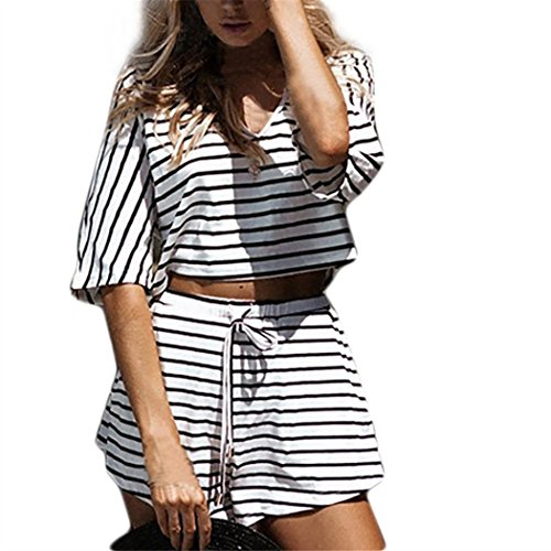 Tops Damen, IMJONO Frau Streifen Set Übergröße Kurze Oberteile+ Hohe Taille Hosen Outfit Sportbekleidung (S, Weiß)