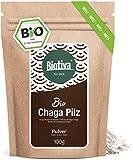 Chaga Pilz Pulver (Bio), 125g - zertifzierte Wildsammlung - aus Innerer Mongolei und Sibirien - >2% Polysacharide - Schiefer Schillerporling - Abgefüllt und kontrolliert in Deutschland (DE-ÖKO-
