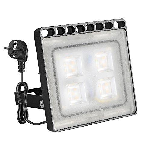 Yuanline Projecteur LED Extérieur 10W 20W 30W 50W 100W Floodlight Spot ultra-mince avec Prise Phare Intérieur et Extérieur Imperméable IP67 pour Jardin Cour Terrasse Square Usine (Blanc Chaud, 20W)
