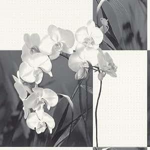 Rasch papier peint 825022 aqua déco 2013 papier peint motif fleurs argenté orchidées en papier peint intissé blanc/motif floral