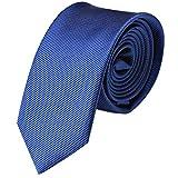 GASSANI Krawatte 6cm Schmal gestreift | Marine-Blaue Herrenkrawatte zum Sakko | Slim Schlips Binder einfarbig Blau mit feinen Streifen