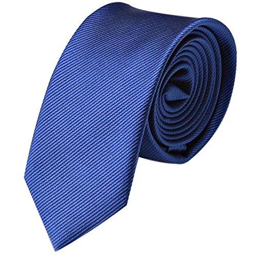 GASSANI Krawatte 6cm Schmal gestreift   Marine-Blaue Herrenkrawatte zum Sakko   Slim Schlips Binder einfarbig Blau mit feinen Streifen