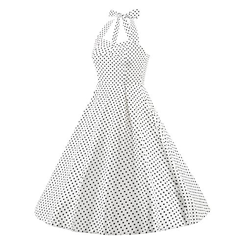 LUOUSE Robe de Bal/Soirée Licou Vintage année 40 50 60 avec des Points Polka V303-Blanc
