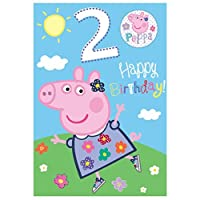 2nd Birthday Peppa Pig Birthday Card with Badge