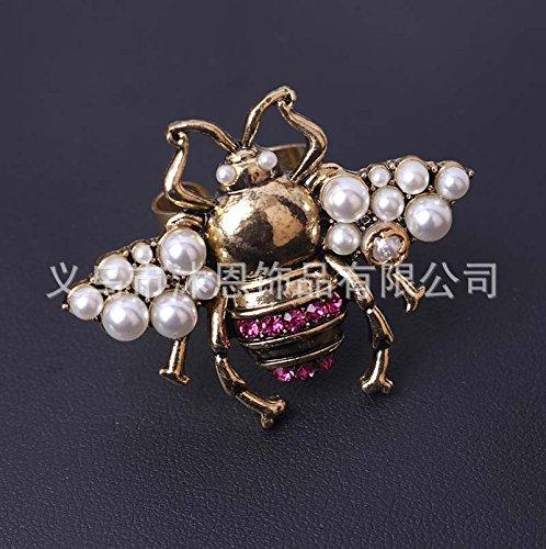 Elegante Perle glänzend Mode Mode schöne Brosche Pins Rücken Retro Die alten Biene Flash Bohren Perle glänzend Mode Mode schöne Brosche Pins Rücken Pin Buchse Insekten auch einen (einzigen)
