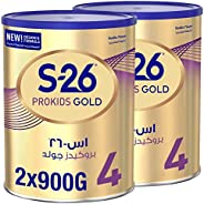 Wyeth S-26 ProKids Gold Stage 4, 3-6 Years Premium Milk Powder Tin for Toddlers, 900g x 2 - Promo Pack