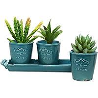 MyGift Set di 3 vasi per piante grasse e fiori, in stile country, in ceramica turchese, con vassoio con manici