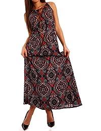 Young-Fashion - Robe - Ajourée - Imprimé Cachemire - Sans Manche - Femme Multicolore Multicolore