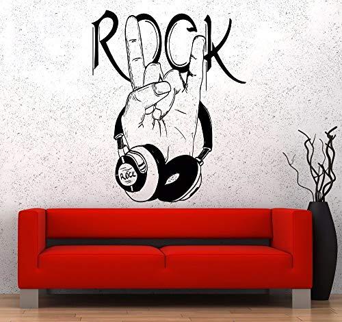 Wandtattoo, Wandaufkleber, Art Decal Decor Poster Abnehmbare Dekoration Muziek Muurpopulaire Vinyl Muziek Hoofdtelefoons Rock Logo Design Decoratie 57x71cm (Rock-star-logos)