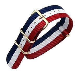 nylon balístico reloj de reemplazo de la correa de banda 18-24mm azul / blanco de alta gama de lujo / rojo estilo de la NATO para los hombres por AUTULET