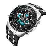 Mens Analogue Digital Sports Watch Men Military Big Face Waterproof Electric Digital Watch Stopwatch Army Shock Resistant Casual Wrist Watches for Men Black Rubber Band