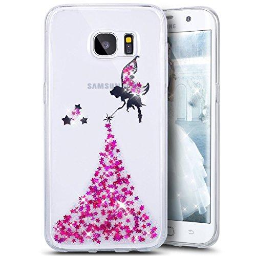 Samsung Galaxy A7 2017 Cover,Samsung Galaxy A7 2017 Custoida,KunyFond Cover Custodia per Samsung Galaxy A7 2017 in Silicone Diamante Bling Glitter Custodia Cover Moda Lusso Placcatura Specchio Scintil rose Angelo