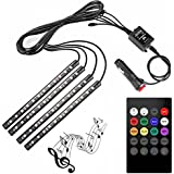 KOZDIKO 4pcs 48 LED DC 12V Multicolour Music Car Strip Light Interior Under Dash Lighting Kit with Sound Active Function and Wireless Remote Control