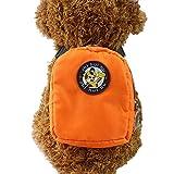 Crewell Hund Rucksack Geschirr Leine Tasche Mini Hundegeschirr Puppy Halsband Brustgurt Pet Geschirre, Orange, S