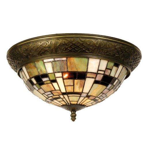 Lumilamp 5LL-5348 Deckenlampe Deckenleuchte Art Deco Grün im Tiffany Stil Ø 38 * 19 cm 2X E14 max 40w dekoratives buntglas Tiffany Stil handgefertigt glasschirm -