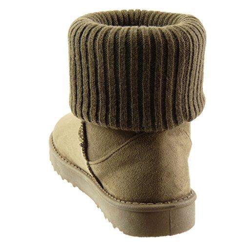 Angkorly - Scarpe da Moda Stivaletti - Scarponcini stivali da neve classic donna crochet finitura cuciture impunture Tacco tacco piatto 2.5 CM - soletta Foderato di Pelliccia Khaki