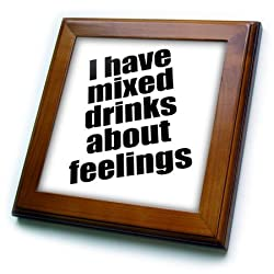 3dRose ft_171938_1 I Have Mixed Drinks About Feelings-Framed Tile Artwork, 8 by 8-Inch