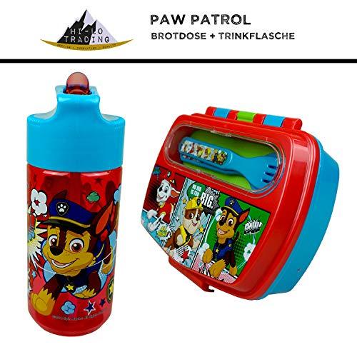 hi-lo Paw Patrol Brotdose und Trinkflasche Kinder Set - Frühstücksdose Sport-Flasche - Kindergarten Schule Geschenkset