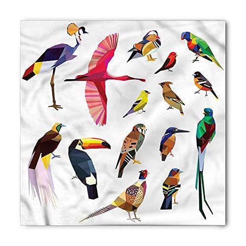 Birds Bandana, Bird Set Poly Design, Unisex Head and Neck Tie, Printed Unisex Bandana Head and Neck Tie Scarf Headband, Multicolor S 60x60cm Poly Hankie