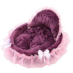Panier Chien/chat Angelof Panier Chien Rose/Violet Panier Chien à MéMoire De Forme Animal Chien Chiot Princesse Arcs Dentelle Coeur éLéGant Lit Niche Lit Chaud