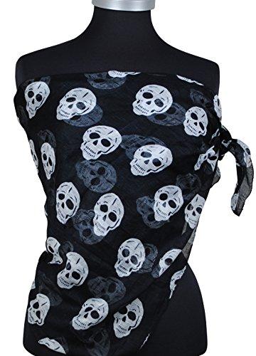 Immerschön trendiges Tuch Piratentuch in vielen Farben Totenkopf Schal Pareo schwarz Totenkopf Stacheldraht