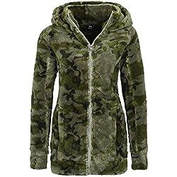 Sublevel Abrigo de Mujer de Tela Peluche   Abrigo Largo de Forro Polar con Cuello Alto Verde Oscuro M