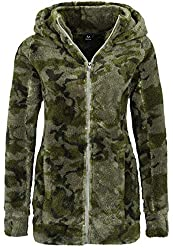 Sublevel Damen Kuschel Fleece-Mantel aus Teddy-Fleece Dark-Green S