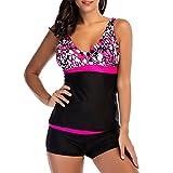 iBaste Tankini Damen mit Shorts Bikini Bademode Bikini Set Badeanzug Damen große größe-RD-3XL