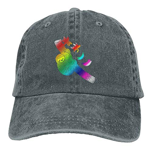 aseball Caps,Hüte, Mützen, Classic Baseball Cap, Colorful Sloth Denim Hat Adjustable Unisex Funny Baseball Hat ()