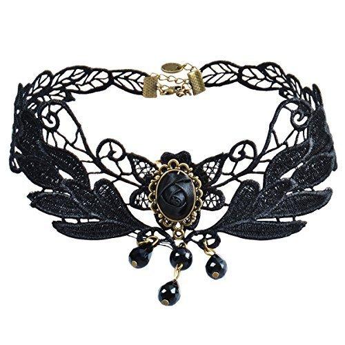 Jane Stone Damen Halskette Choker Kropfband schwarz Lace Spitze Blume Gothic Victorian Vintage Stil enge anliegende Jocker Kette für junge Frau und (Kostüme Festival Karneval)