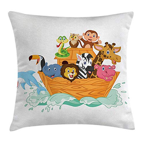 ZTLKFL Religious Throw Pillow Cushion Cover, Fun Animals in The Ark Floating Myth Creatures Grace Nature Illustration Art, Decorative Square Accent Pillow Case, 18 X 18 inches, Multicolor (Animal Ark-box)