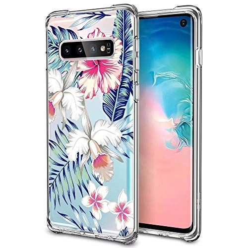 Samsung Galaxy S10 Hülle,Silikon Gemalte Blumen Bumper Cover Case Transparent Ultra Dünn Stoßfest TPU Schutzhülle für Samsung Galaxy S10 Handyhülle-Impatiens ()