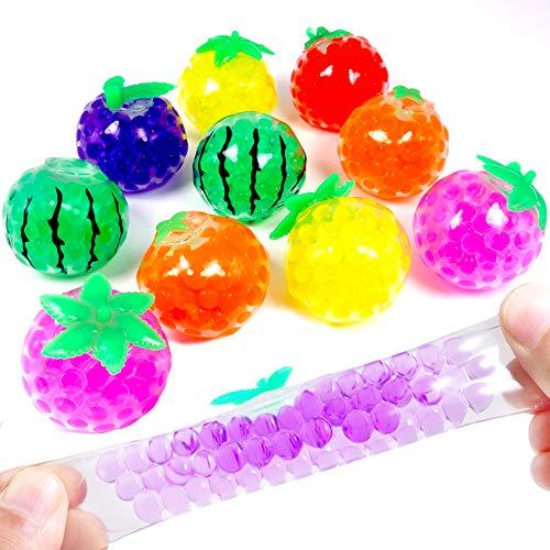 - 12 x Ultra Squishy - Quetsch - Obst ┃ NEU ┃ Extrem Quetsch - Glibber Ball ┃ Mitgebsel ┃ Kindergeburtstag ┃ Anti Stress - Bubble Ball Früchte ┃ 12 Stück ()