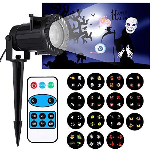 LED Projektionslampe,Projektor Lichter mit 15 schaltbare Muster Objektiv RF-Fernbedienung IP65 wasserdicht innen- und Außenbereich rotierenden Party Licht für Weihnachten (Objektiv Halloween)