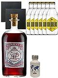 Gin-Set Monkey 47 SLOE GIN Schwarzwald Dry Gin 0,5 Liter + Nordes Atlantic Gin 0,05 Liter Miniatur + 6 Goldberg Tonic Water 0,2 Liter + 2 Schieferuntersetzer quadratisch 9,5 cm