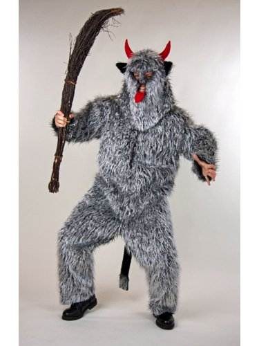Kostüm für Erwachsene Set Teufelsmonster Overall und Maske Einheitsgröße (Krampus Kostüm)