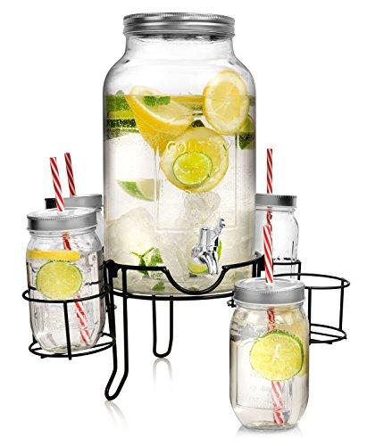 Bluespoon Getränkespender Set 6 teilig | Füllmenge des Spenders 4,5 L | Füllmenge der Trinkgläser 450 ml | Perfektes Vintage Set beinhaltet Spender, Gläser, Trinkhalme und Ständer