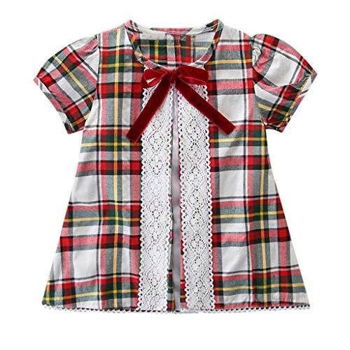 Mädchen Kinderkleidung, yanhoo Toddler Kids Baby Girls Short Sleeve Plaid Lace Bowknot T-Shirt Tops T-Shirt T-Shirt T-Shirt Schmetterling Knoten Gitter Spitze genäht T-Shirt Top