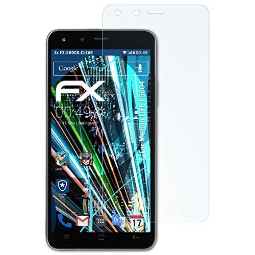 atFolix Schutzfolie kompatibel mit Medion Life P5004 Panzerfolie, ultraklare & stoßdämpfende FX Folie (3X)
