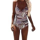 Plunge Einteiler Badeanzug, Hansee Sexy Frauen Push-Up gepolsterter BH Print Bade Cami Overall (L)
