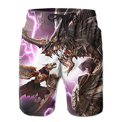 Fantasy Dragon Machinery Männer/Jungen Casual Badehose Kurze Strandhose mit elastischer Taille und Taschen,XXL