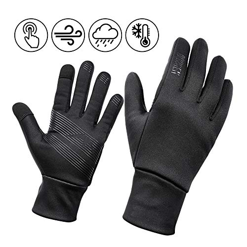 Borgen Fahrrad Winterhandschuhe sehr warm, Wind- und wasserdicht Thermo Handschuhe mit Vollfinger Touchscreen - Rutschfest für MTB, Rennrad für Männer und Damen schwarz (M)