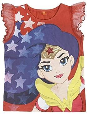 Justice League - Wonder Woman - T-Shirt Maglia Maglietta con Maniche Corte Volant e Paillettes - Full Print -...