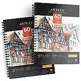 ARTEZA Zeichenblock 229 x 305mm | Mixed Media Sketchbooks | Spiralgebundener Skizzenblock mit 60 Blättern | 180gms Säurefreies Papier | Perfekt Aquarell, Acryl, Skizzieren, Journaling und mehr