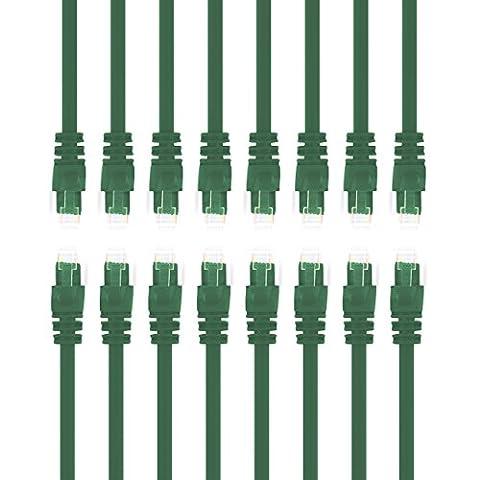 Gearit 0,5mètres Cat 6Câble Ethernet Cat6Snagless Patch réseau LAN–Ordinateur Cordon, Vert, [Garantie à vie] 3 Feet (16-Pack) Green