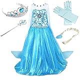 Prinzessin Kostüm Kinder Glanz Kleid Mädchen Weihnachten Verkleidung Karneval Party Halloween Fest (120(Körpergröße 120cm), Elsa #02 und 4 Zubehör)