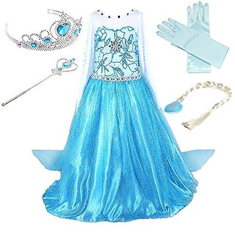 Prinzessin Kostüm Kinder Glanz Kleid Mädchen Weihnachten Verkleidung Karneval Party Halloween Fest (110 (Körpergröße 110cm), Elsa #02 und 4
